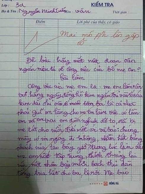 Bài văn tả về bố mẹ bị cô giáo mời phụ huynh lên gặp nhưng lại được dân mạng ngợi khen-1