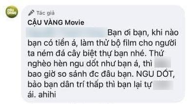 Xôn xao tin fanpage phim Cậu Vàng mắng lại dân mạng là thứ nghèo hèn ngu dốt, không bao giờ so sánh được-4