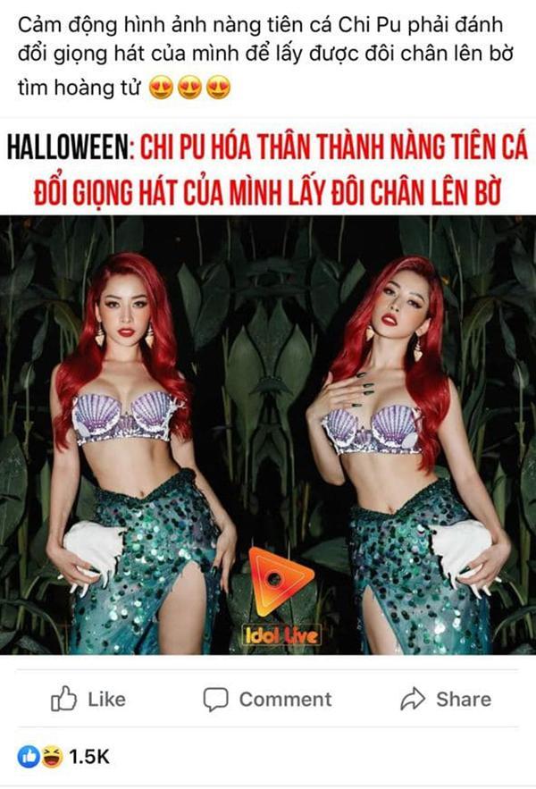 Chi Pu hoá thân thành nàng tiên cá chơi Halloween, netizen lập tức cà khịa-3