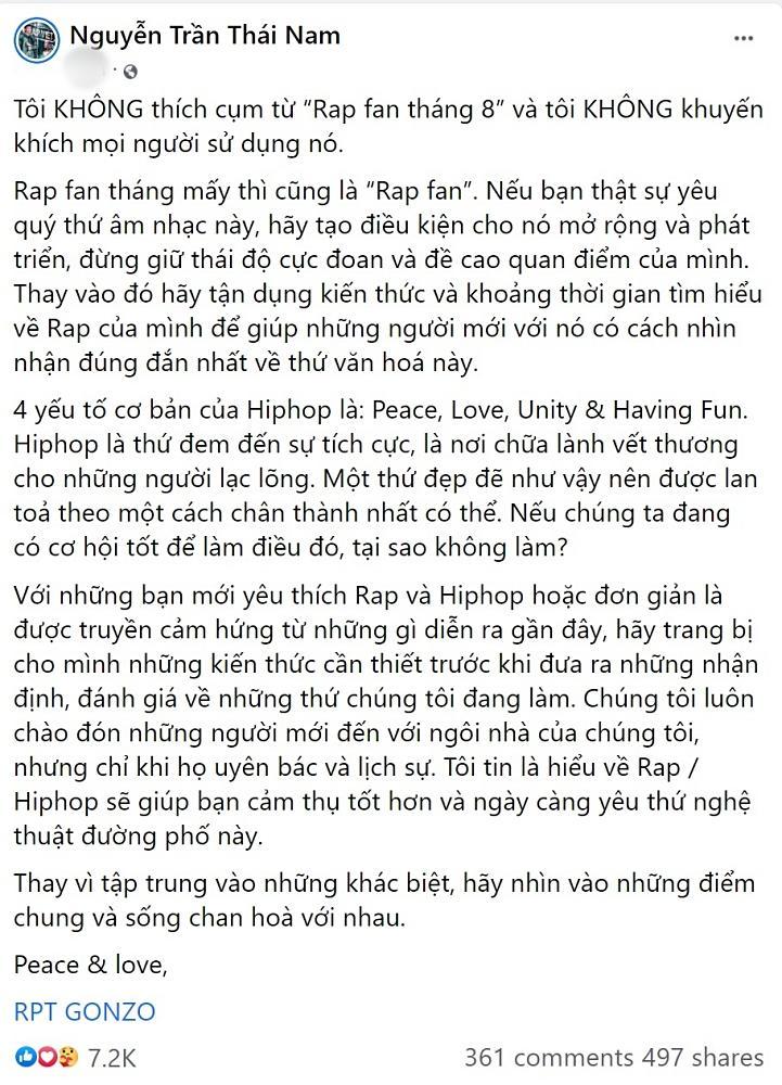 Rhymastic nói về Rap fan tháng 8: Cứ chửi và lên án, Rap Việt vẫn lớn mạnh-2