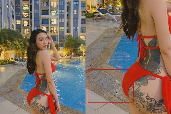 Khoe vòng ba bốc lửa, Linh Miu tự tố photoshop lố đến méo cả nền gạch-1