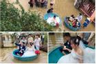 Đám cưới đúng ngày lũ, cô dâu chú rể ngồi thuyền thúng, quan viên 2 họ vén quần lội