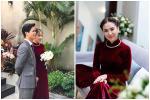 Bà xã Công Phượng diện áo dài cưới nhung đỏ giống MC Mai Ngọc
