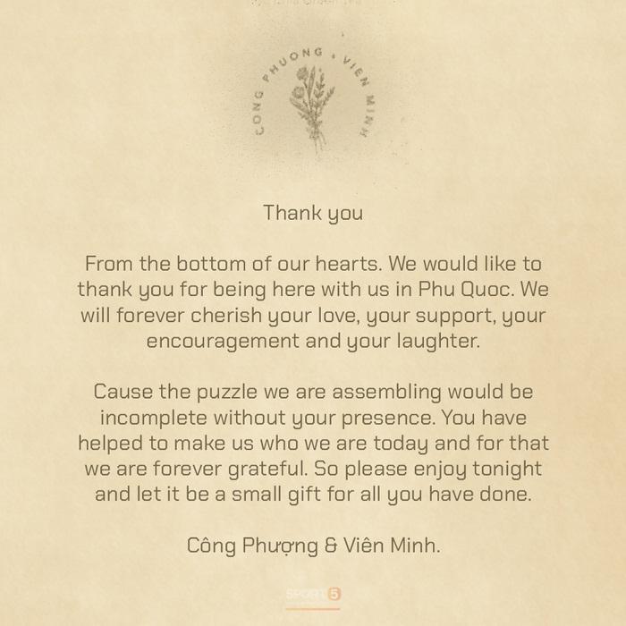 Tiết lộ nội dung thư Công Phượng - Viên Minh gửi khách mời tại Phú Quốc-1