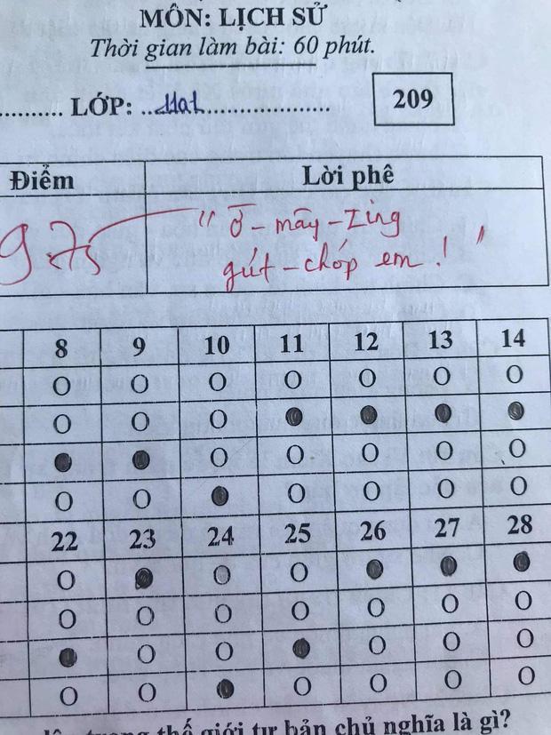 Bài kiểm tra Sử đạt 9,75 điểm nhưng lời phê cô giáo khiến dân tình vỗ tay tán thưởng-1
