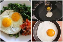 Thêm một bước trước khi làm trứng ốp la, trứng luôn tròn mà không bị dính chảo