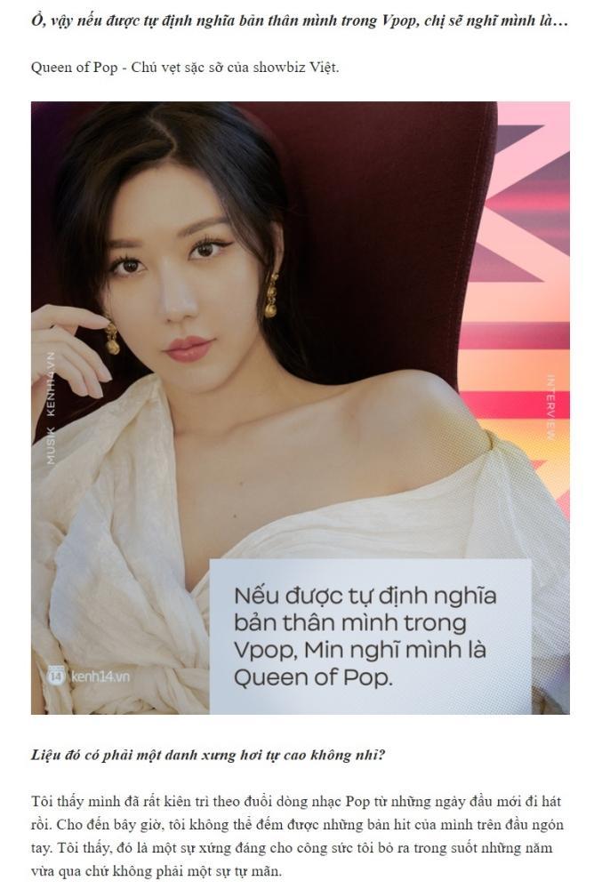 Làng nhạc Việt quăng đá tảng vào Min khi tự luyến, gọi mình là Queen of Pop-1