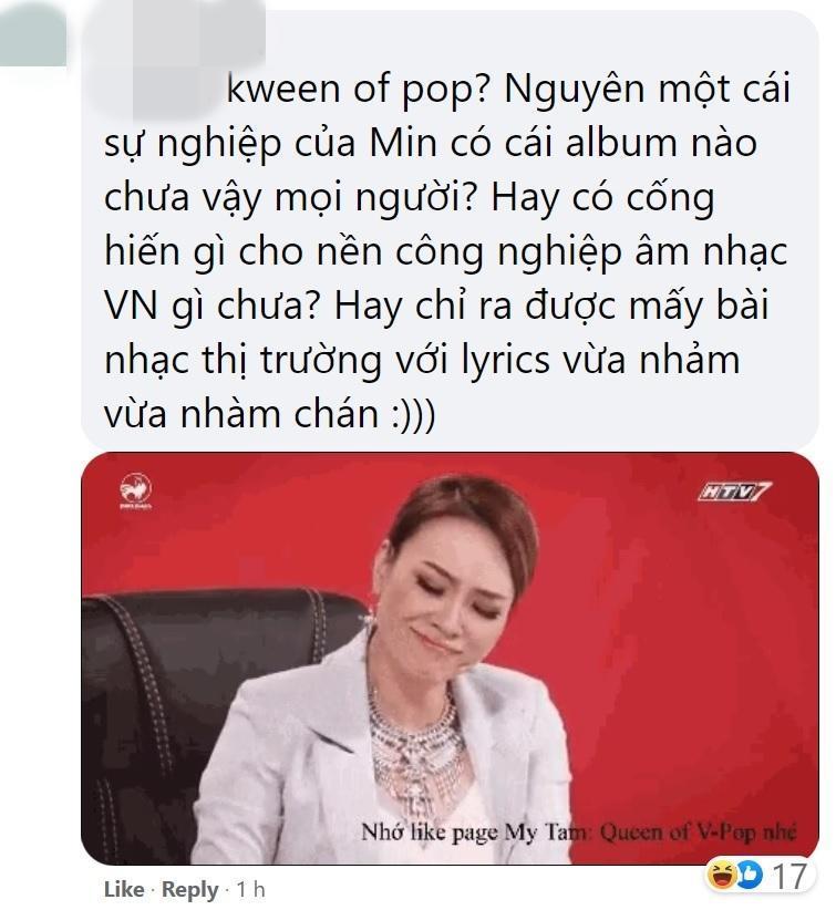 Làng nhạc Việt quăng đá tảng vào Min khi tự luyến, gọi mình là Queen of Pop-2