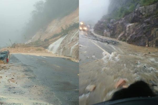Clip: Kinh hoàng nước từ vách núi bên đường đổ xuống ầm ầm khiến nhiều tài xế hoảng hồn-1