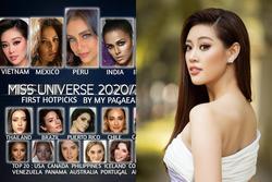 Khánh Vân đang đứng hạng mấy trên các bảng xếp hạng Miss Universe 2020?