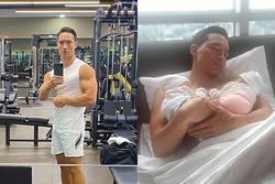 Dung mạo chuẩn 'bố bỉm sữa' của Kim Lý sau 1 tháng chăm con sinh đôi