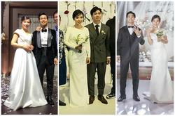 Bà xã Công Phượng 1 kiểu váy cưới, 1 kiểu tóc búi xuyên suốt 3 lần cưới