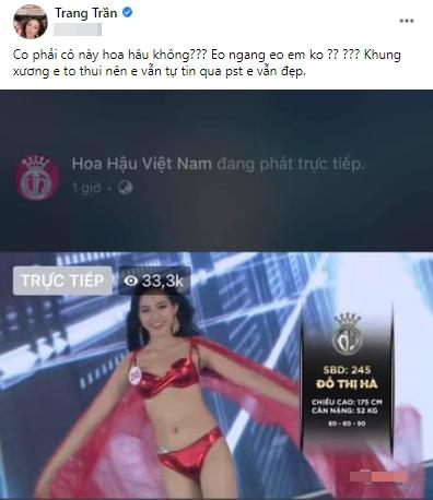 Chưa đầy nửa tháng, Trang Trần đã 2 lần động chạm tân hoa hậu Đỗ Thị Hà-3