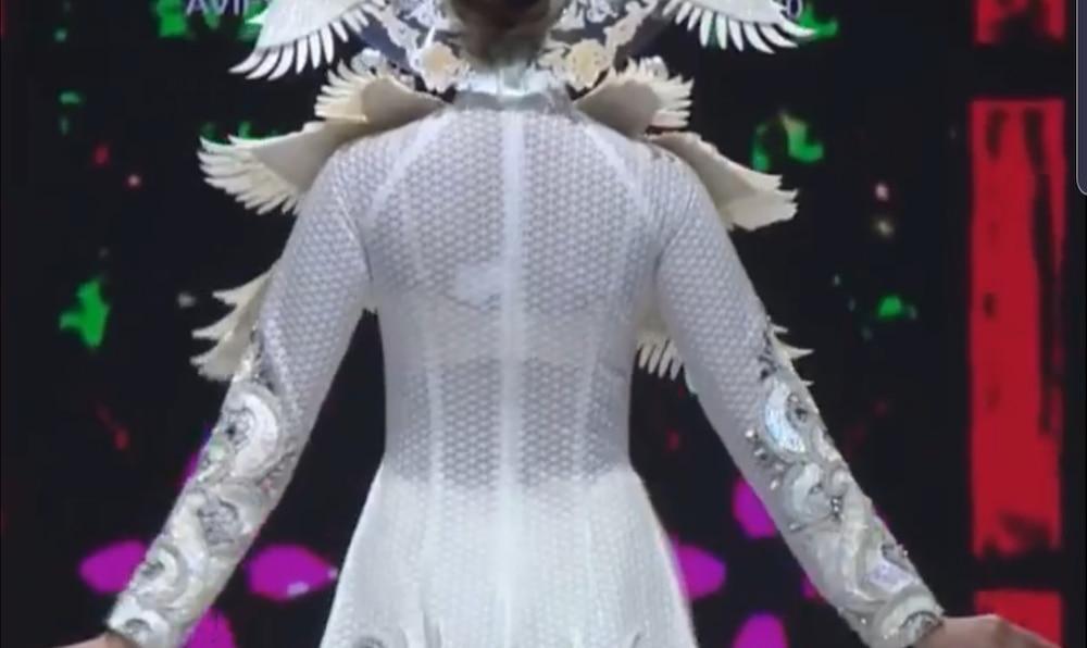 Khánh Vân lộ vật thể lạ khi diện áo dài hoành tráng, catwalk uy nghiêm-7