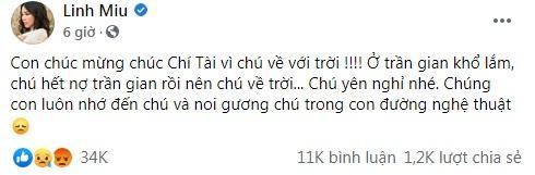 Hot girl Linh Miu ăn đá tảng khi viết chúc mừng sự ra đi của nghệ sĩ Chí Tài-1