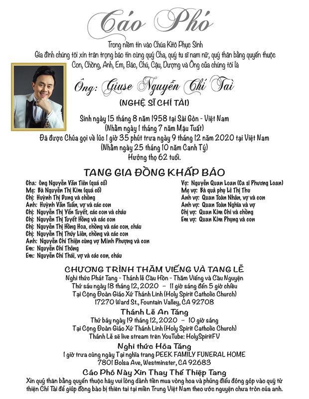 Thông tin chính thức về tang lễ cố nghệ sĩ Chí Tài tại Mỹ-1
