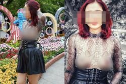 Người phụ nữ ngực trần lại gây xôn xao khi mặc áo xuyên thấu đi khắp Sài Gòn