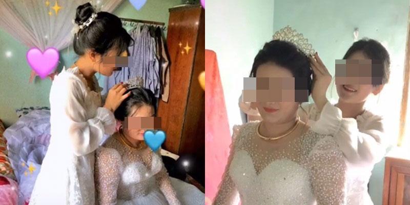 Con gái trang điểm tiễn mẹ lấy chồng, ngoại hình nổi bật của cô dâu trung niên gây chú ý-1
