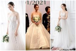 Bà xã Công Lý thay liền 3 bộ váy cưới mềm mại như sương mai trong đám cưới