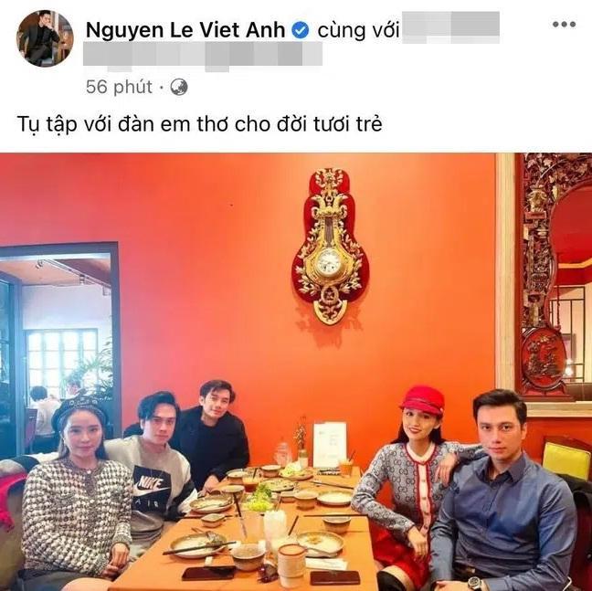Việt Anh đăng ảnh tụ tập cùng Quỳnh Nga và hội bạn, vợ cũ liền ẩn ý nam diễn viên đã có bạn gái mới?-1