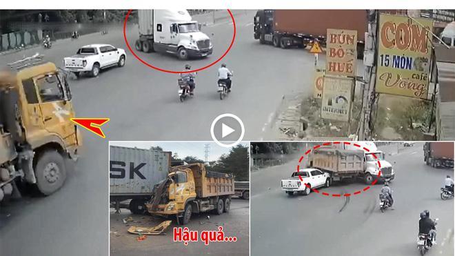 Clip: Bẻ lái lách trúng khe hiểm, xe ben vẫn bị bẹp đầu-2