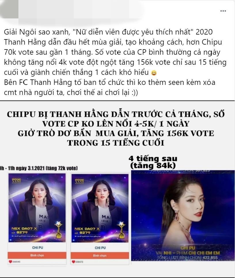 Dân mạng tố Chi Pu mua giải Ngôi sao xanh 2020-3