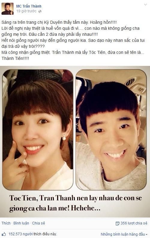 Trấn Thành đăng ảnh bên Tóc Tiên, gợi lại câu nói của cố nghệ sĩ Chí Tài-3