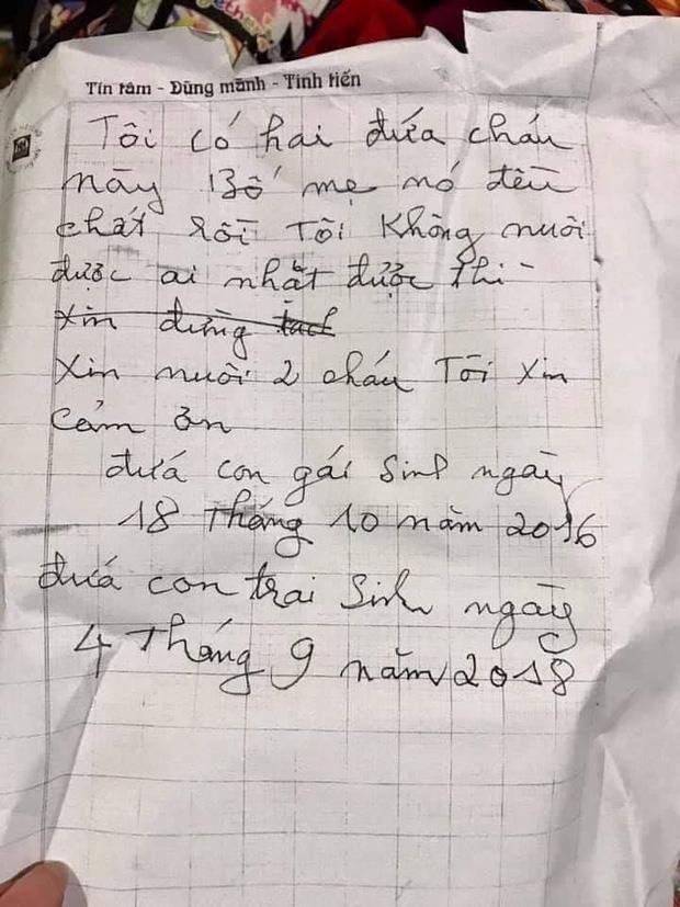 Hai cháu nhỏ 3 và 5 tuổi ở Hà Nội bị bỏ rơi giữa trời giá rét kèm lá thư Bố mẹ đã chết, xin nuôi hộ-2