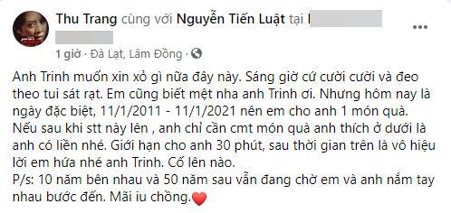 Tiến Luật bị Thu Trang chơi khăm ngày kỷ niệm 10 năm cưới-1