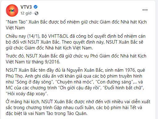 Xuân Bắc lên chức Giám đốc, fanpage VTV bóc liền quá khứ bất hảo-2