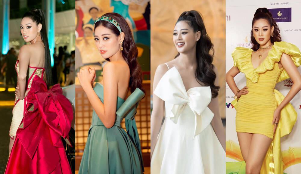 Không phải xuyên thấu hở bạo, váy đính nơ thống trị 2020, Khánh Vân diện như cơm bữa-2