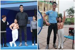 Việt Hương bé hạt tiêu khi đứng cạnh 'siêu nhân khổng lồ' cao 2,20m