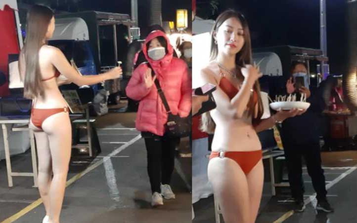 Mặc bikini đứng bán ổi bất chấp cái lạnh 9 độ C, hotgirl đốt mắt người đi đường-2