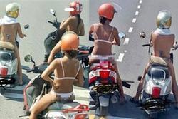 3 cô gái khiến dân tình sôi máu, diện bikini lọt khe chạy xe ầm ầm trên phố
