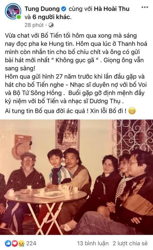 Tùng Dương kể chuyện hôm qua vẫn nhắn tin với nhạc sĩ Trần Tiến, bức xúc trước tin fake qua đời sáng nay-1