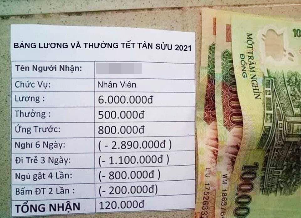 Xôn xao bảng lương thưởng Tết 6 triệu bỗng chốc co lại chỉ còn... 120 nghìn đồng!?-2