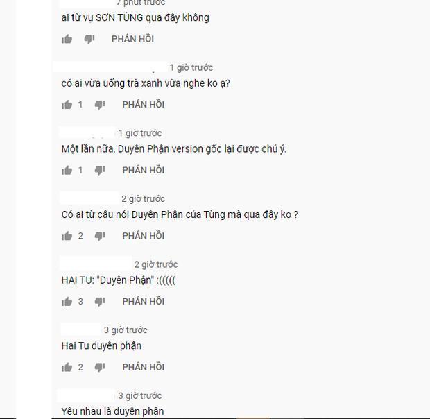 Phía dưới bài hát Duyên Phận của Như Quỳnh tràn ngập bình luận về Sơn Tùng-1