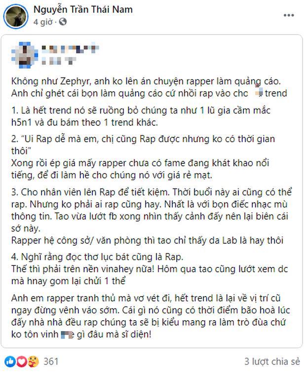 Rapper Gonzo đồng tình với status cực gắt về rapper làm quảng cáo, hết trend sẽ bị ruồng bỏ?-1
