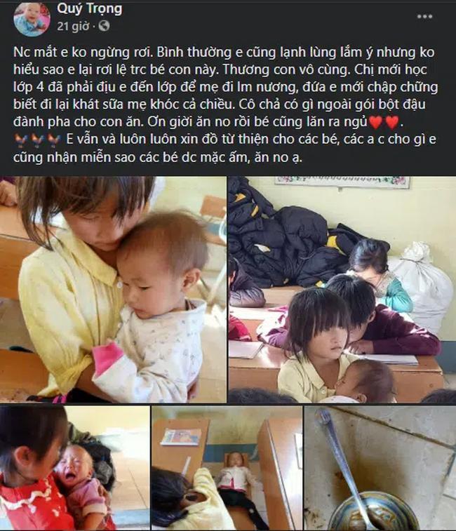 Bé gái lớp 4 ở Lai Châu địu em đến trường, dỗ em đang khóc ngay trong lớp-2
