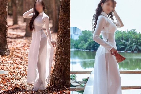 Nữ sinh khoe ảnh gợi cảm khi diện áo dài, zoom cận cơ thể còn choáng hơn-7
