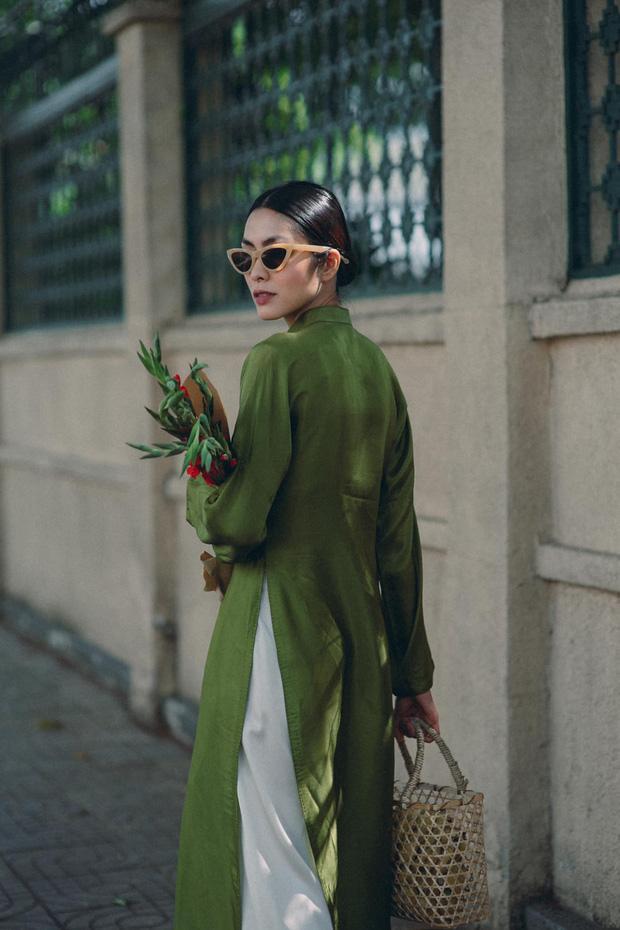 Tăng Thanh Hà đeo kính mắt mèo - mặc áo dài lạc quẻ-3