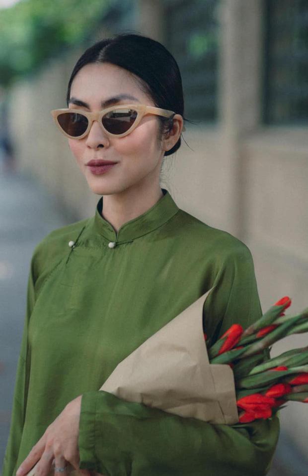 Tăng Thanh Hà đeo kính mắt mèo - mặc áo dài lạc quẻ-2