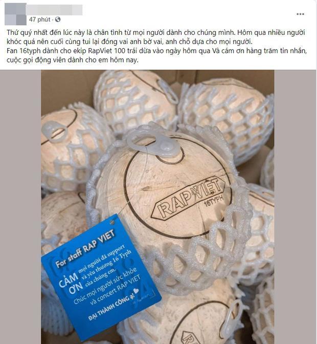 Fan 16 Typh gửi tặng 100 trái dừa cùng tin nhắn động viên ekip sau thông báo Rap Việt tạm hoãn-2