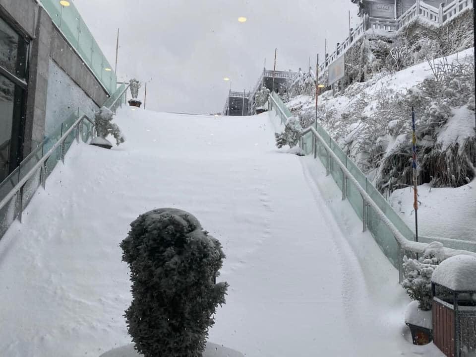 Tuyết phủ trắng xóa đỉnh Fansipan, du khách tưởng lạc vào phim ảnh-2