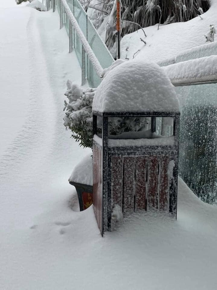 Tuyết phủ trắng xóa đỉnh Fansipan, du khách tưởng lạc vào phim ảnh-5