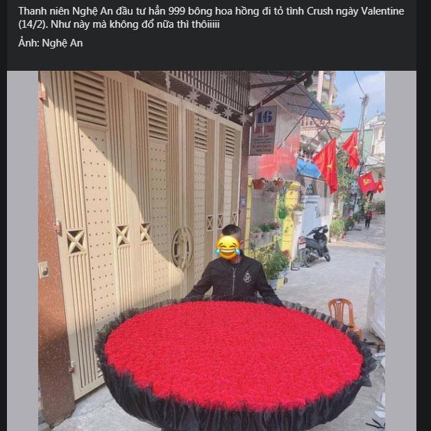Choáng ngợp trước món quà Valentine bằng 999 bông hồng của chàng trai Nghệ An-1