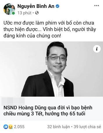Dàn sao Việt bàng hoàng khi hay tin NSND Hoàng Dũng qua đời-6