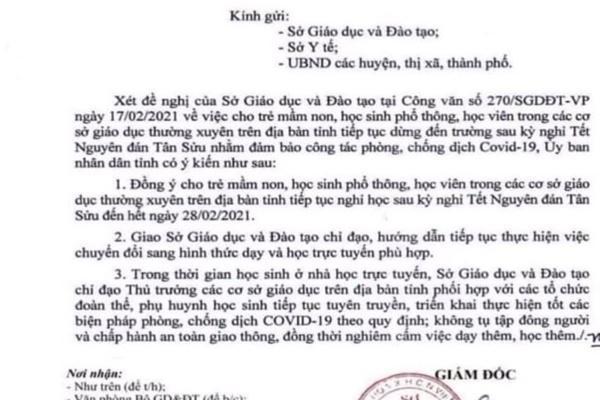 Văn bản thông báo học sinh ở Đắk Lắk nghỉ đến hết tháng 2 là giả mạo-1
