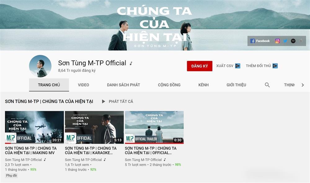 Kênh youtube Sơn Tùng M-TP bị bay mất dạng MV Chúng Ta Của Hiện Tại-1