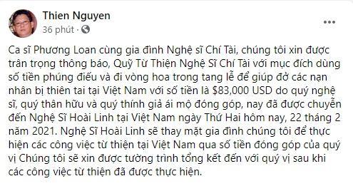 Thông tin mới về quỹ từ thiện 83.000 USD mang tên Chí Tài-1